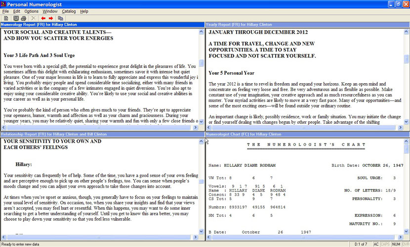 Main program window, with 4 reports displayed sid-by-side