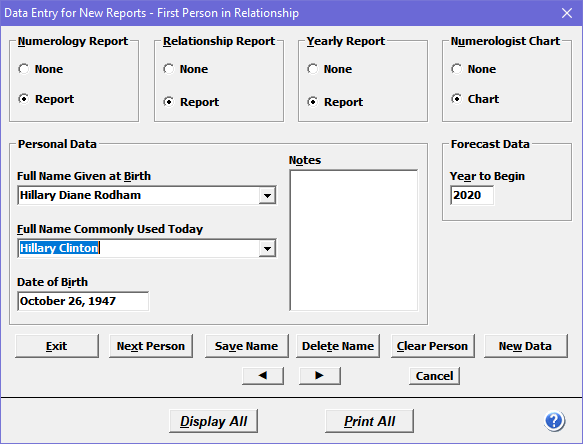 Data entry dialog box where you select reports and enter names and birth date