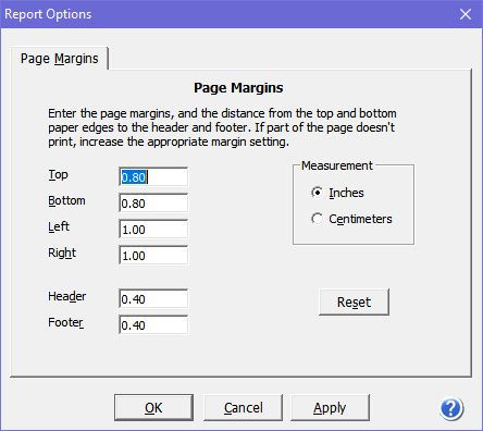 Report Options dialog box where you configure how reports are set up